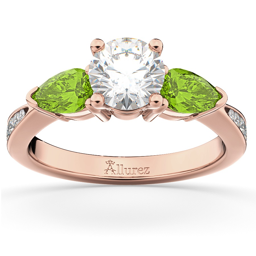 Diamond & Pear Peridot Engagement Ring 14k Rose Gold (0.79ct)