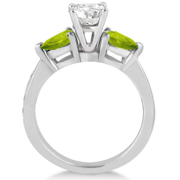 Diamond & Pear Peridot Engagement Ring 14k White Gold (0.79ct)