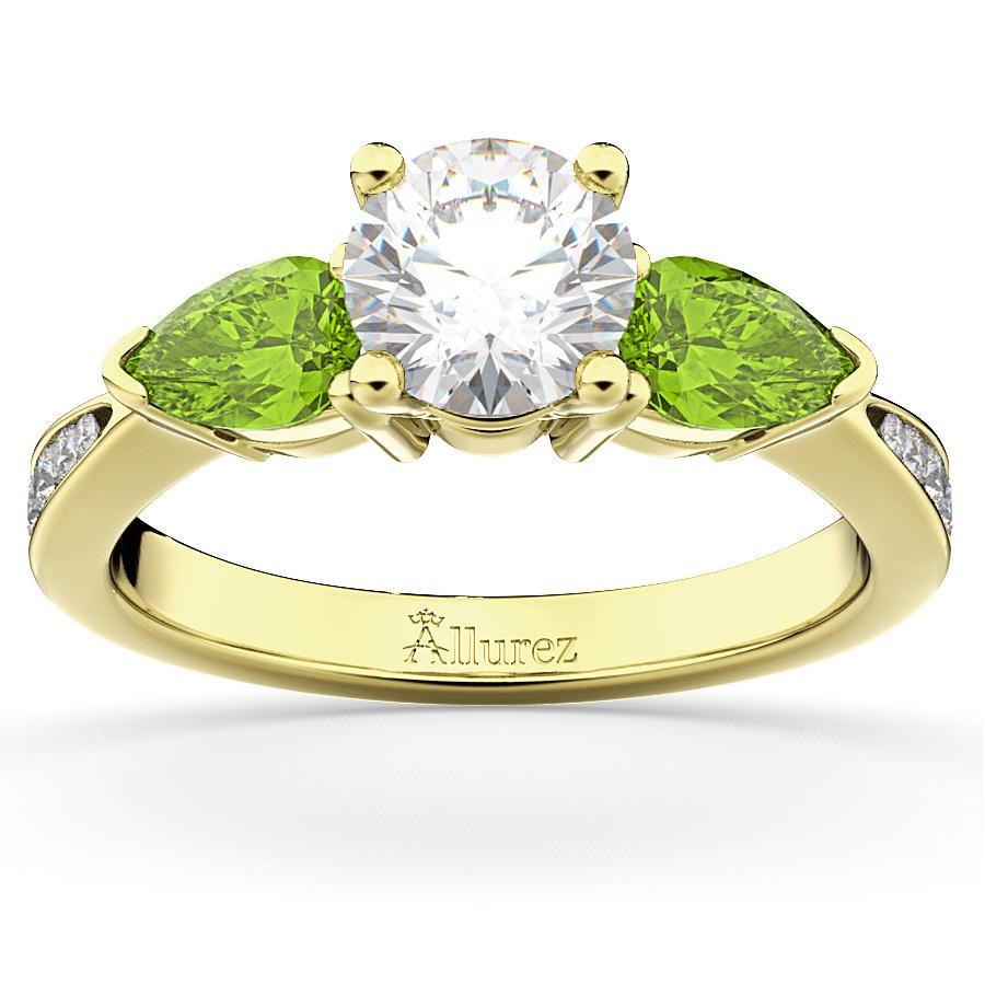 Diamond & Pear Peridot Engagement Ring 14k Yellow Gold 0