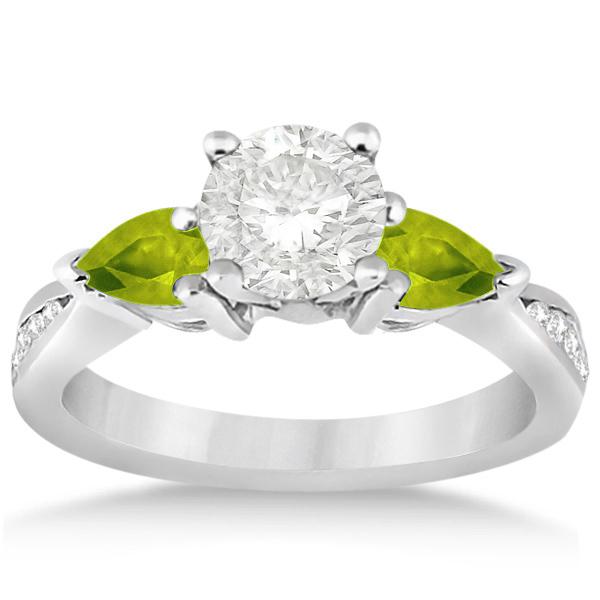 Diamond & Pear Peridot Engagement Ring Platinum (0.79ct)