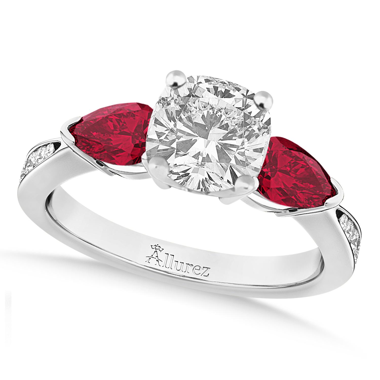 Cushion Diamond & Pear Ruby Gemstone Engagement Ring Palladium (1.29ct)