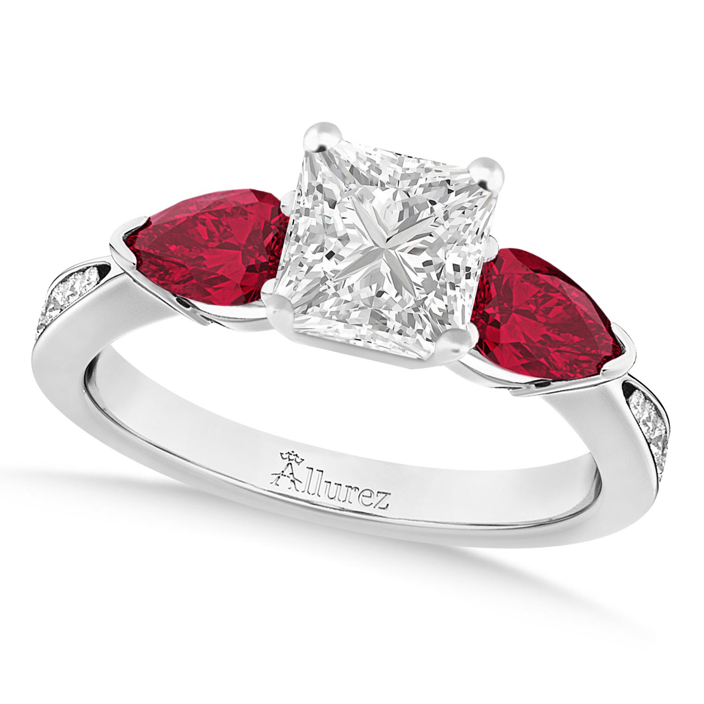 Princess Diamond & Pear Ruby Gemstone Engagement Ring Palladium (1.29ct)