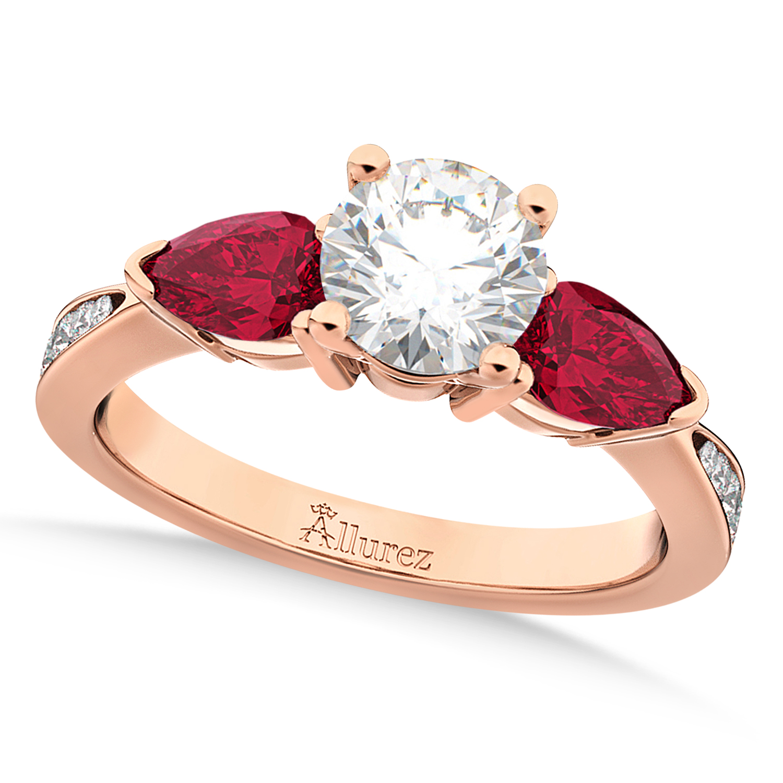 Round Diamond & Pear Ruby Gemstone Engagement Ring 18k Rose Gold (1.79ct)