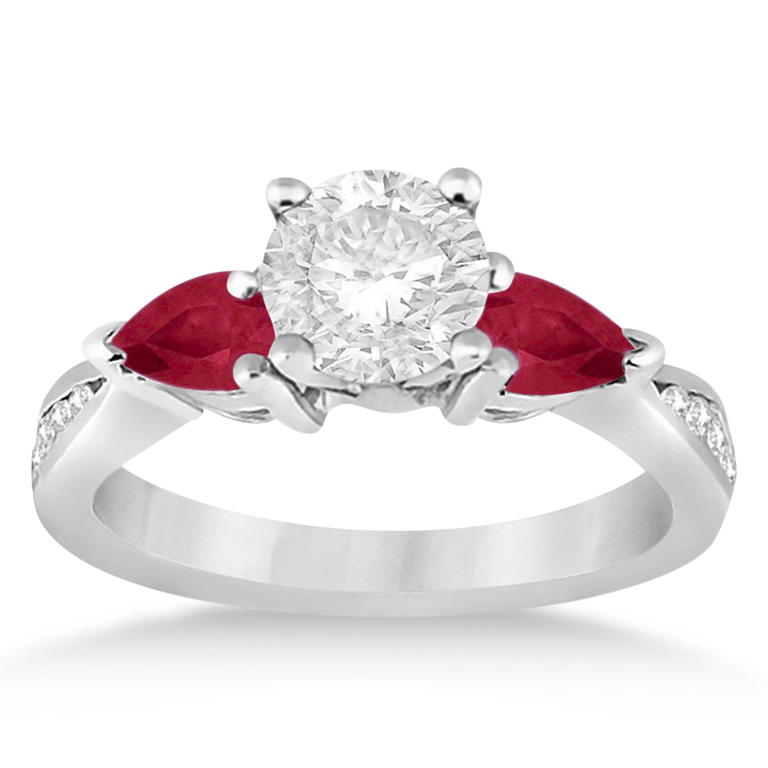 Round Diamond & Pear Ruby Gemstone Engagement Ring Palladium (1.79ct)