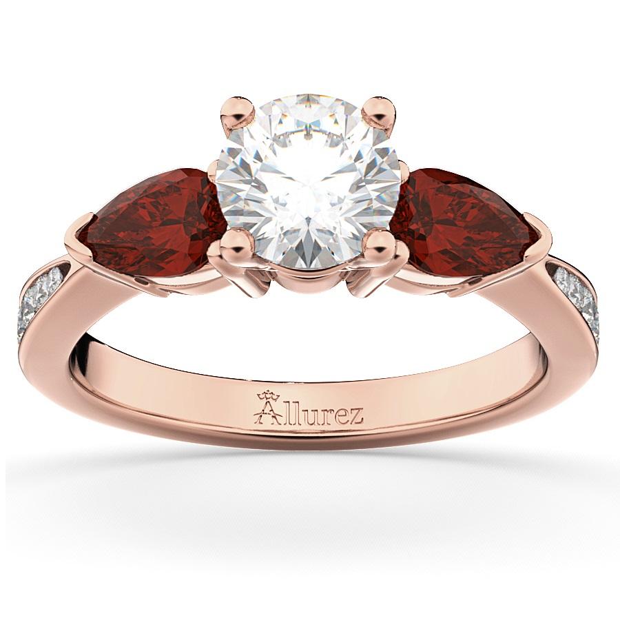 Diamond & Pear Ruby Gemstone Engagement Ring 14k Rose Gold (0.79ct)