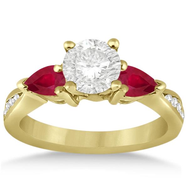 Diamond & Pear Ruby Gemstone Engagement Ring 14k Yellow Gold (0.79ct)