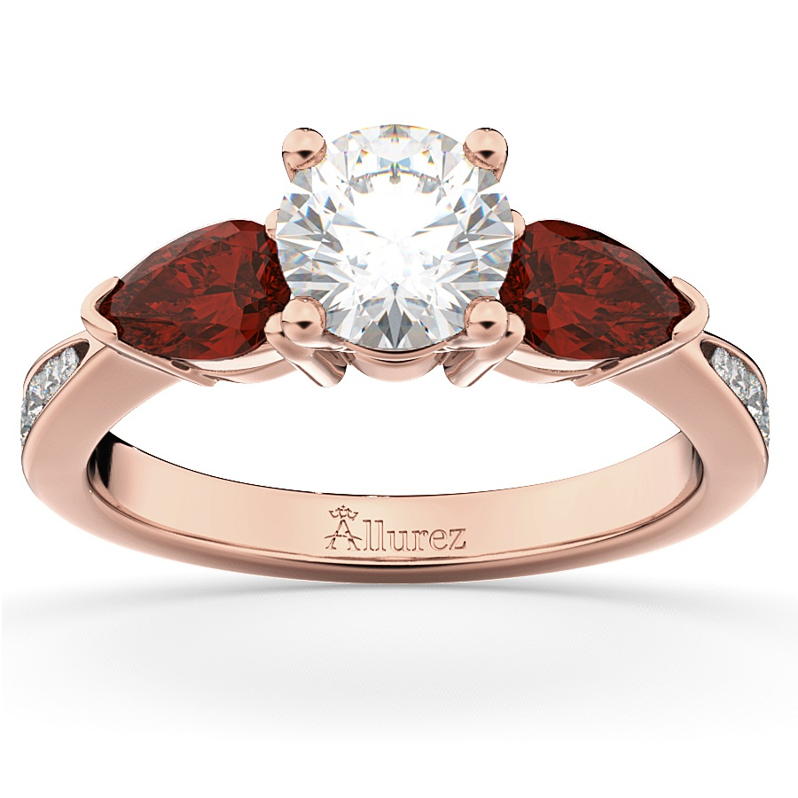 Diamond & Pear Ruby Gemstone Engagement Ring 18k Rose Gold (0.79ct)