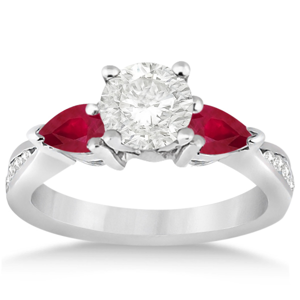 Diamond & Pear Ruby Gemstone Engagement Ring 18k White Gold (0.79ct)