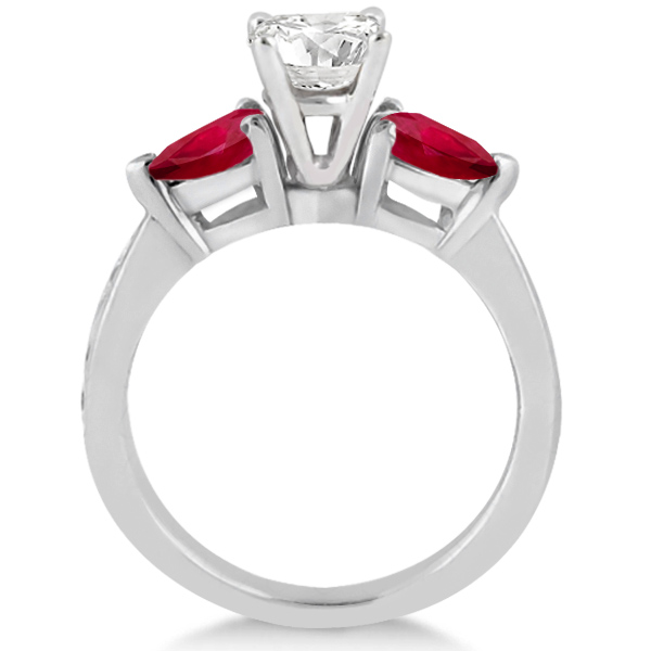 Diamond & Pear Ruby Gemstone Engagement Ring 18k White Gold (0.79ct)