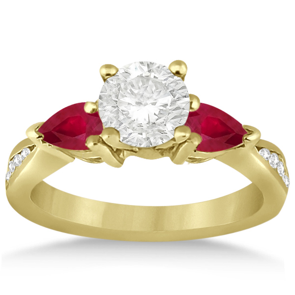 Diamond & Pear Ruby Gemstone Engagement Ring 18k Yellow Gold (0.79ct)