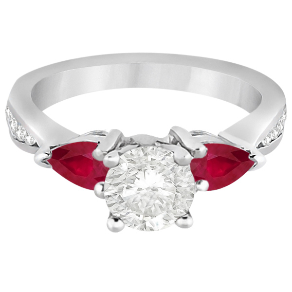 Diamond & Pear Ruby Gemstone Engagement Ring Platinum (0.79ct)