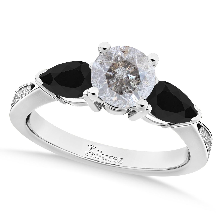 Round Salt & Pepper & Pear Black Diamond Engagement Ring 18k White Gold (1.29ct)