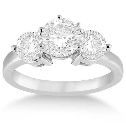 Three Stone Diamond Engagement Ring Setting 14k White Gold (0.50ct)