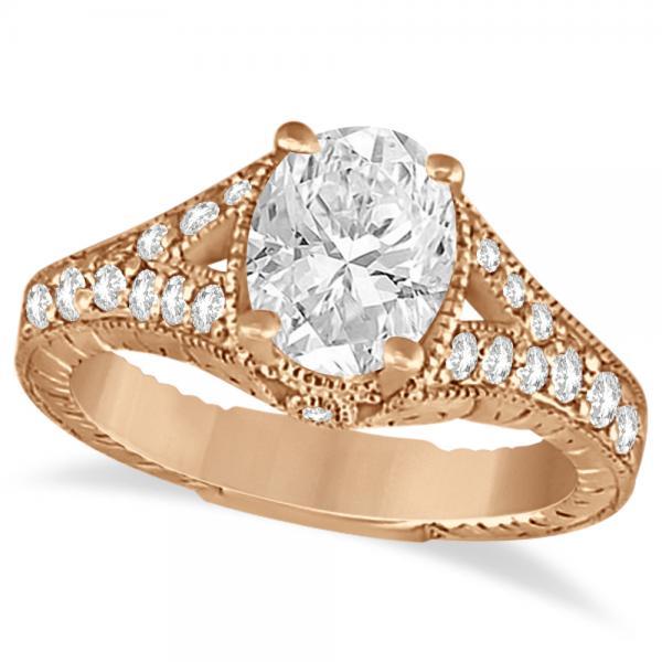 Antique Art Deco Oval Diamond Engagement Ring 14K Rose Gold (1.03ct)