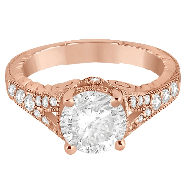 Antique Art Deco Round Diamond Engagement Ring 14k Rose Gold 1.03ct