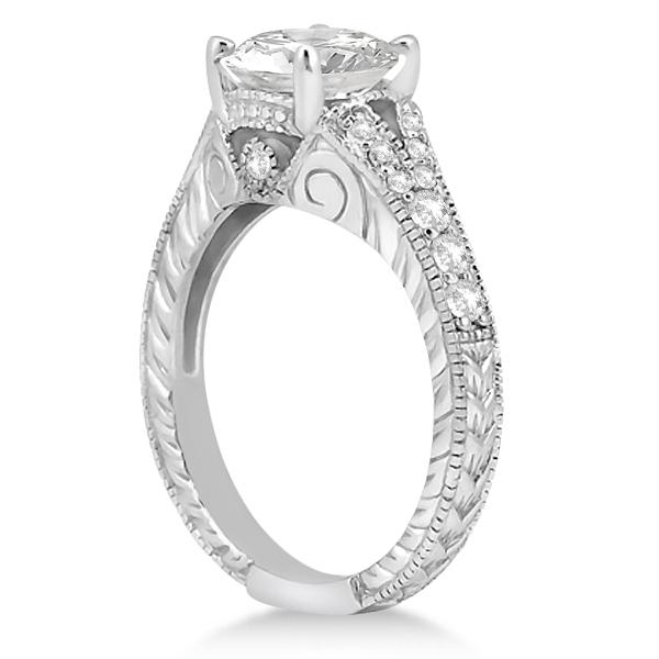 Antique Art Deco Round Diamond Engagement Ring 14k White Gold 1.50ct