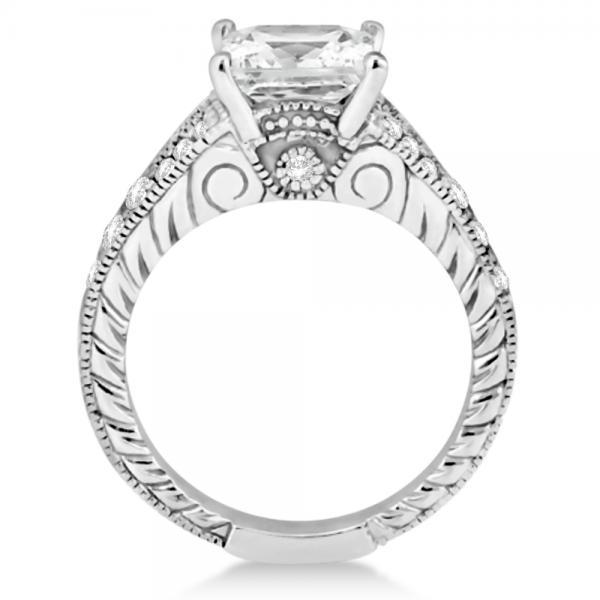 Antique Princess Cut Diamond Engagement Ring 14K White Gold (1.03ct)
