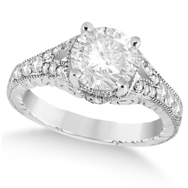 Antique Art Deco Round Diamond Engagement Ring 14k White Gold 1.03ct