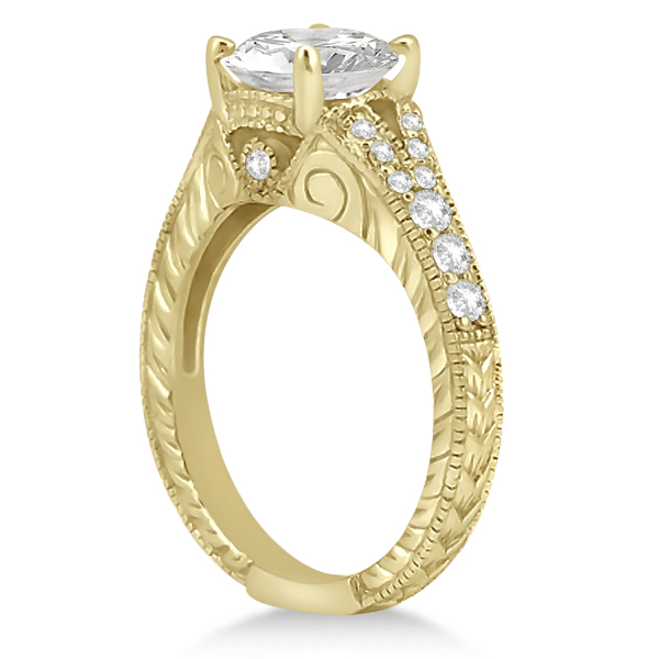 Antique Art Deco Round Diamond Engagement Ring 14k Yellow Gold 1.50ct