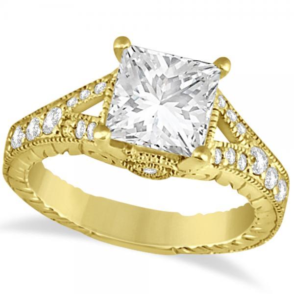 Antique Princess Cut Diamond Engagement Ring 14K Yellow Gold (1.03ct)