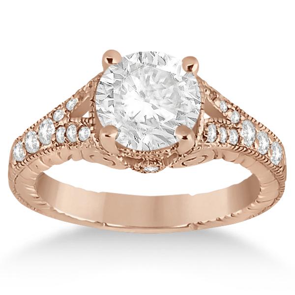 Antique Style Art Deco Diamond Engagement Ring 18k Rose Gold (0.33ct)