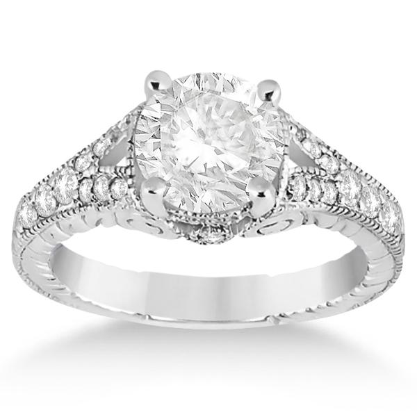 Antique Style Art Deco Diamond Engagement Ring 18k White Gold (0.33ct)