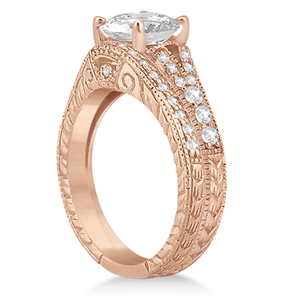Antique Style Art Deco Diamond Bridal Set 18k Rose Gold (0.53ct)
