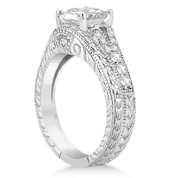 Antique Style Art Deco Diamond Bridal Set 18k White Gold (0.53ct)