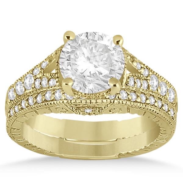 Antique Style Art Deco Diamond Bridal Set 18k Yellow Gold (0.53ct)