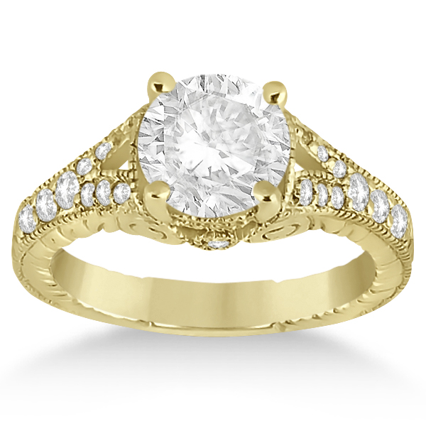 Antique Style Art Deco Diamond Bridal Set 18k Yellow Gold (0.53ct)