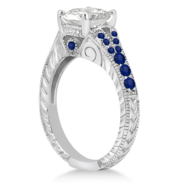 Antique Art Deco Blue Sapphire Engagement Ring 14k White Gold (0.33ct)