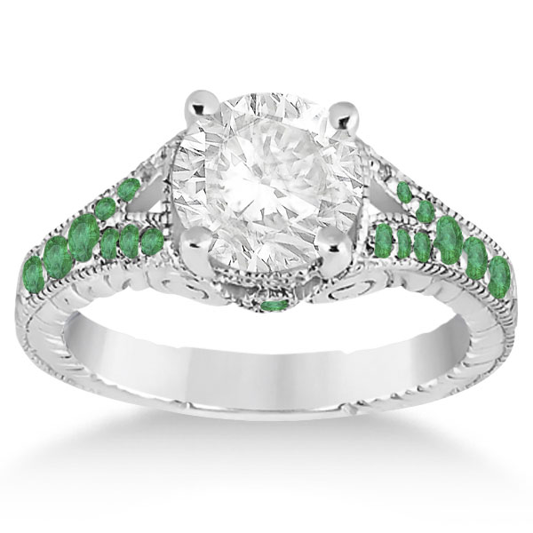 Antique Style Art Deco Emerald Engagement Ring 14k White Gold (0.33ct)