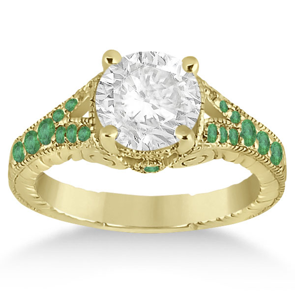 Antique Style Art Deco Emerald Engagement Ring 14k Yellow Gold (0.33ct)