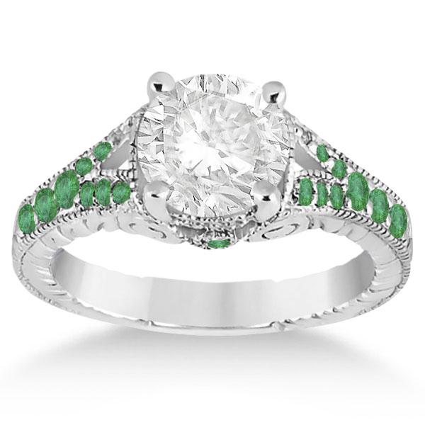 Antique Style Art Deco Emerald Engagement Ring Palladium (0.33ct)