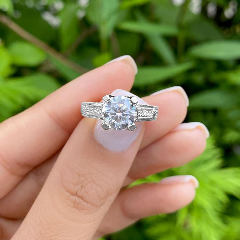 Antique Style Art Deco Diamond Engagement Ring Palladium (0.33ct)