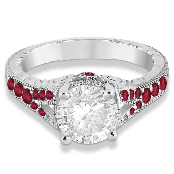 Antique Style Art Deco Ruby Engagement Ring 14k White Gold (0.33ct)