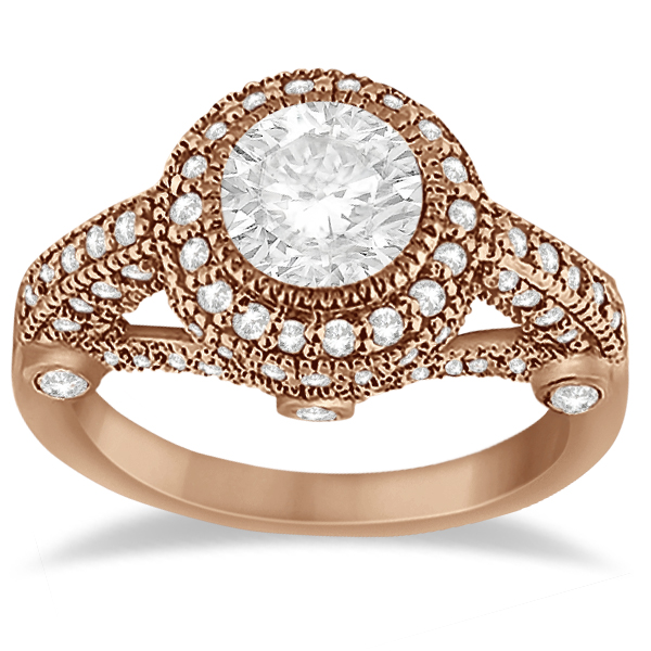 Vintage Diamond Halo Art Deco Engagement Ring 14k Rose Gold (0.97ct)