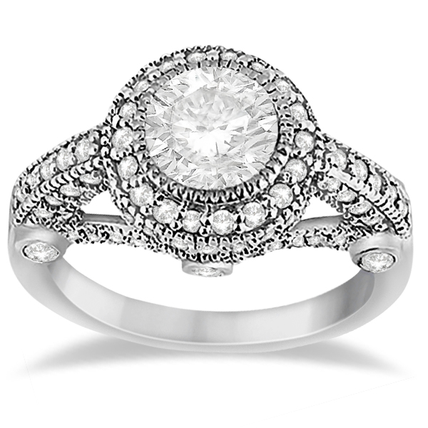 vintage diamond halo art deco engagement ring 14k white gold 097ct - Art Deco Wedding Rings