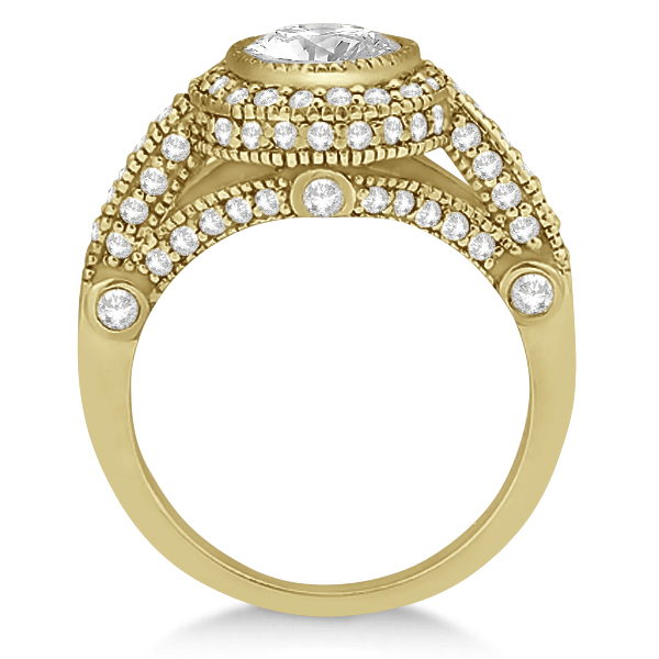 Vintage Diamond Halo Art Deco Engagement Ring 14k Yellow Gold (0.97ct)