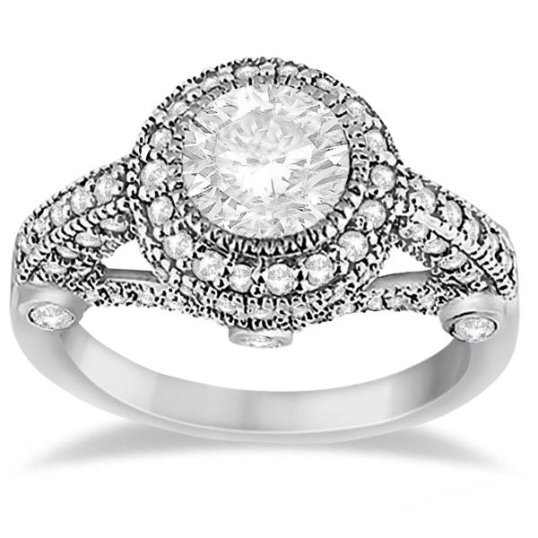 Vintage Diamond Halo Art Deco Engagement Ring Palladium (0.97ct)