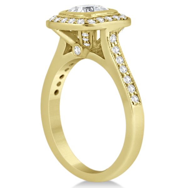 Cathedral Cushion Diamond Halo Design Engagement Ring 14K Yellow Gold (0.43ct)