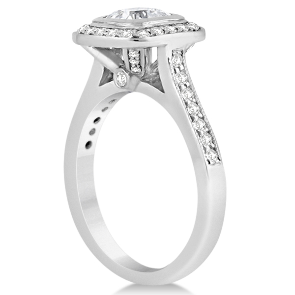 Cathedral Cushion Diamond Halo Engagement Ring 18K White Gold (0.43ct)