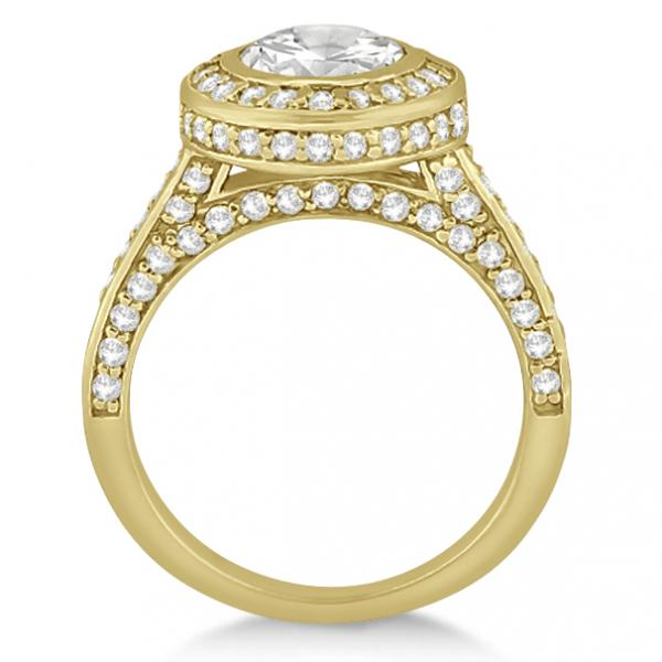 Diamond Pave Halo Engagement Ring Setting 14k Yellow Gold (1.06ct)