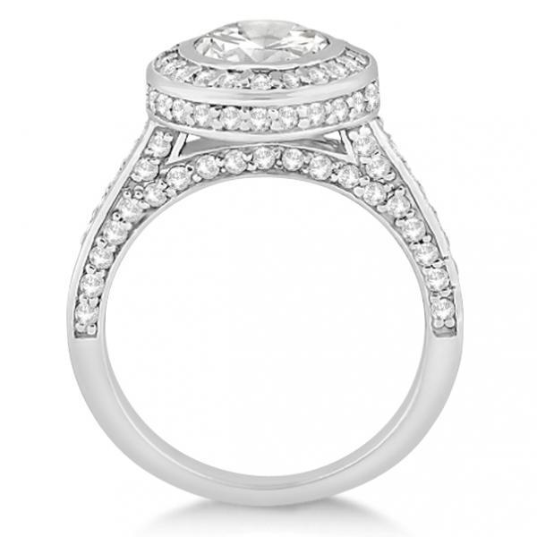 Diamond Pave Halo Engagement Ring Setting Palladium (1.06ct)