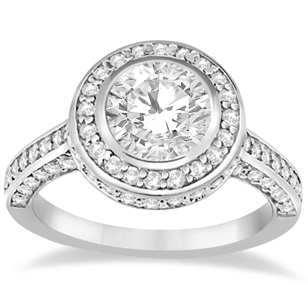 Diamond Pave Halo Engagement Ring Setting Platinum (1.06ct)