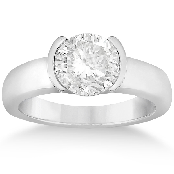 Half-Bezel Solitaire Engagement Ring Setting in 18k White Gold