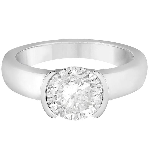 Half-Bezel Solitaire Engagement Ring Setting in Palladium
