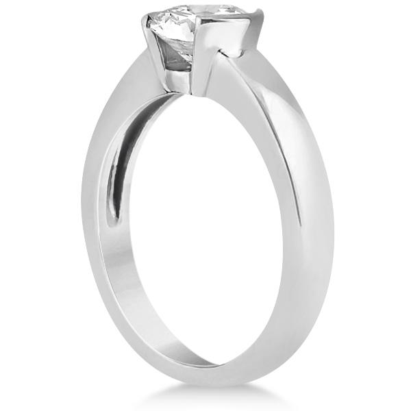 Half-Bezel Solitaire Engagement Ring Setting in Platinum