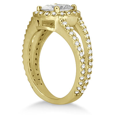 Split Shank Pave Halo Diamond Engagement Ring 14k Yellow Gold (0.75ct)