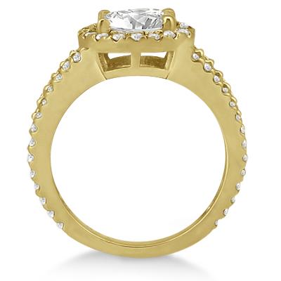 Split Shank Pave Halo Diamond Engagement Ring 18k Yellow Gold (0.75ct)